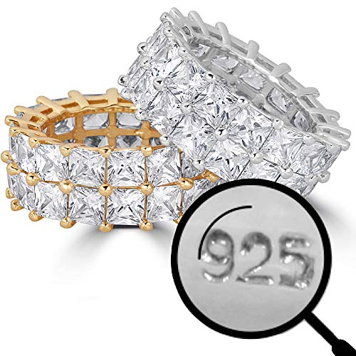 Real Solid 925 Silver His Or Hers Tennis Ring - Wedding Band Or Hip Hop Pinky Ring Looks - Iced Out Baguette Princess Cut CZ Eternity (Sterling-Silver, 7)