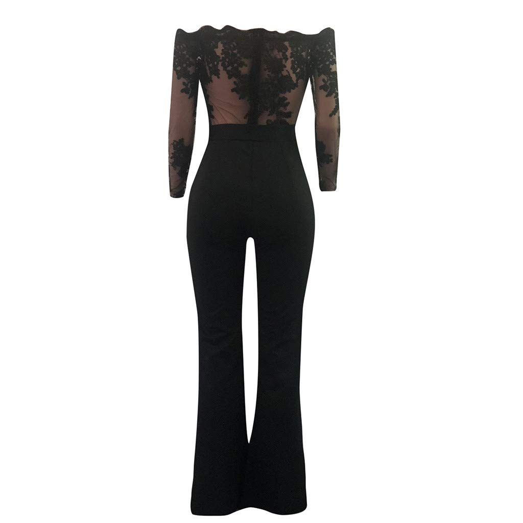 6102857e20 Amazon.com  Dainzuy Jumpsuits for Women Elegant Night Sexy Off Shoulder  Lace Up Playsuit Wide Leg Romper Casual Sexy Pants  Clothing