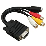 VGA to RCA Cable, Ruitexun VGA to TV S-Video 3 RCA PC Computer AV Adapter Cable