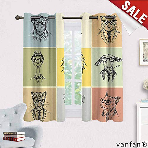 Big datastore Modern Curtains for Party Decoration,Hipster Animals Monkey Camel Cat Lion Goat Tiger Business Man Glasses Illustration Multicolor Printed,Multicolor W63 x L63]()