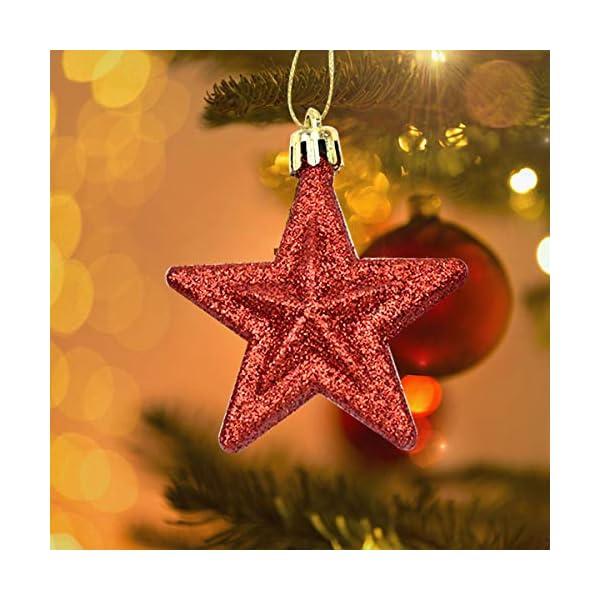 Jinlaili Ornamenti per Albero di Natale, 6 Pz Palline Decorazioni Natalizie, Stella Decorazioni Natalizie Appese Plastica, Palla di Natale Rosso Argento, Addobbi Natalizi Natale 7 x 7 x 3 cm (Argento) 5 spesavip