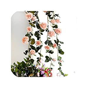 180Cm Artificial Rose Flower Vine Wedding Decor Real Touch Silk Flowers String with Green Leaves for Home Hanging Garland Decor,Pink 83