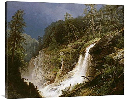 Global Gallery Budget GCS-268094-36-142 Hermann Herzog Western Waterfall Gallery Wrap Giclee on Canvas Wall Art - Western Waterfall