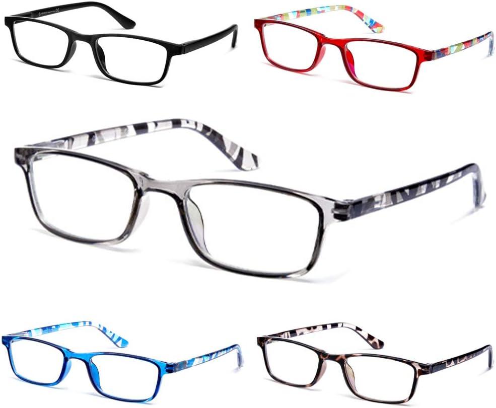 Reading Glasses 5-Pack ,Spring Hinge Readers for Women Men Anti Glare Filter Lightweight Eyeglasses+1.0