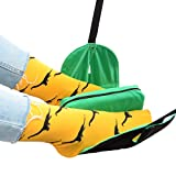 Premium Footrest Leg Hammock With Foam Pillow Divider For Airplane Flight Foot Rest For Office And Home Under Desk Air Travel Footstool Carry-on Relaxing Travel Accessory Adults and Children (Green)