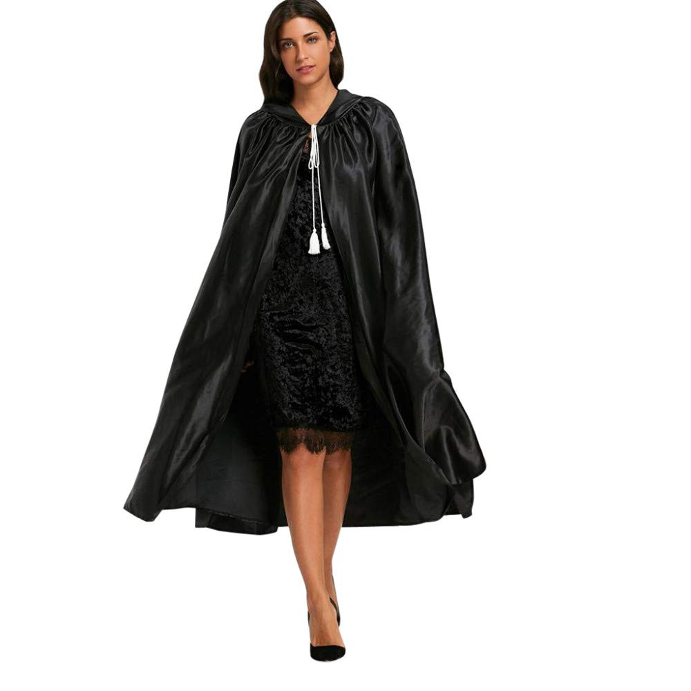 Halloween Cosplay Costumes Party Capes Unisex Christmas Day Hooded Cloak Medieval Cape (Black D, M)