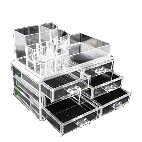 Clear Acrylic Cosmetics Makeup Jewelry Organizer 6 Drawers with 8 Compartments Top Section ( idea for Christmas, birthday gift) - 2.75