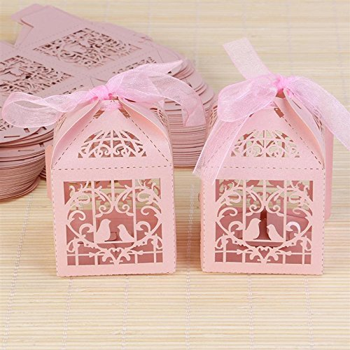 Saasiiyo 50 Pieces Hollow Bird Style Love Heart Party Wedding Hollow Carriage Baby Shower Favors Gifts Candy Boxes