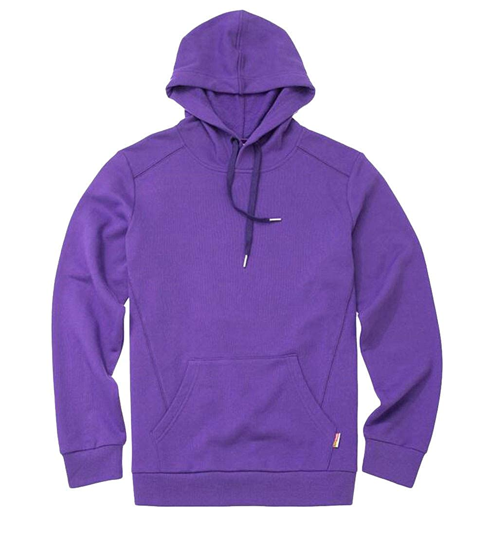 JSY Mens Pure Color Hooded Outdoor Pullover Pocket Sweatshirts