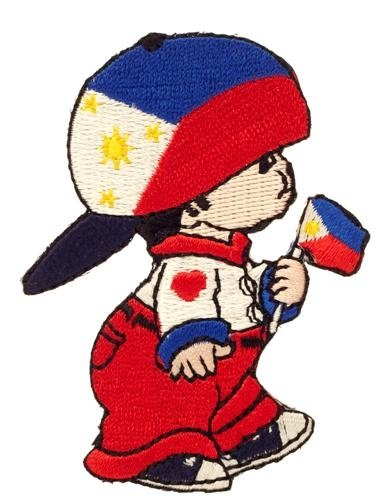 (Philippines Little Boy Country Flag Embroidered Iron on Patch Crest Badge ... 3 X 2 Inch .. New)