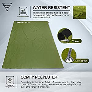 Forbidden Road 380T Nylon Portable Sleeping Bag Single 0 ℃/ 30 ℉(5 Colors) Lightweight Water Resistent Envelope for Man Woman 4 Seasons Camping, Hiking, Backpacking (Olive Green, 0℃ / 30℉)