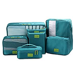 Packing Cubes Value Set for Travel & Home Storage by U-MISS,7pcs Travel Essential Bag-in-Bag Travel Luggage Organizer Storage Handle Bag Pouch Set (Dark Blue) (Azul)