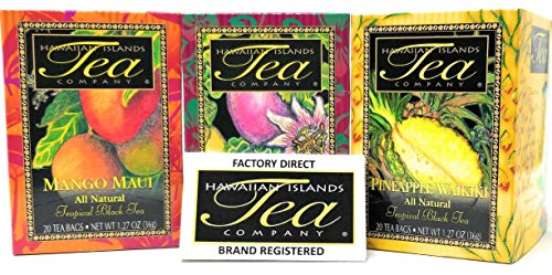 (Tropical Tea Gift Set, All Natural, Black Tea (Mango Maui, Passion Fruit Na Pali, Pineapple Waikiki) (20 Teabags each Flavor) Blended and Packed in Hawaii (Pack of)