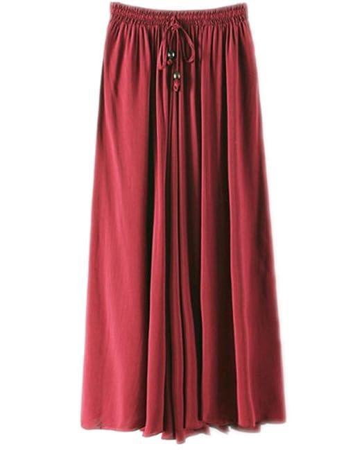 d49ea7c31 Kasen Falda Larga Mujer Cintura Larga Camiseta Maxi Faldas Vino Rojo ...