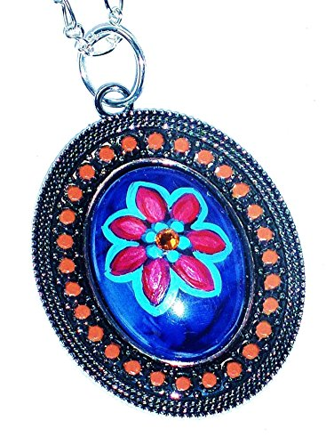 [Hand Painted Flower Pendant Necklace] (60s Mod Girl Costumes)