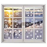 200PCS Christmas Snowflake Window Clings Decal Stickers Winter Wonderland Decorations - White Baubles Bells