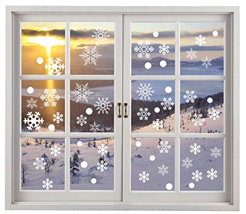 200PCS Christmas Snowflake Window Clings Decal Stickers Winter Wonderland Decorations - White Baubles Bells ()