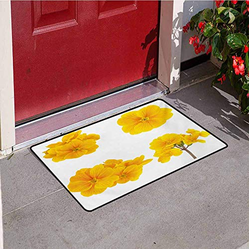 Jinguizi Yellow Flower Welcome Door mat Gardening Themed Collection with Little Tender Primrose Primula Blossoms Door mat is odorless and Durable W31.5 x L47.2 Inch Mustard White (Leaf Primrose Five Light)