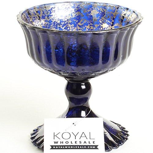 Blue Compote - Koyal Wholesale Compote Bowl Centerpiece Mercury Glass Antique Pedestal Vase, Floral Centerpiece, Wedding, Bridal Shower, Home Décor (4.5