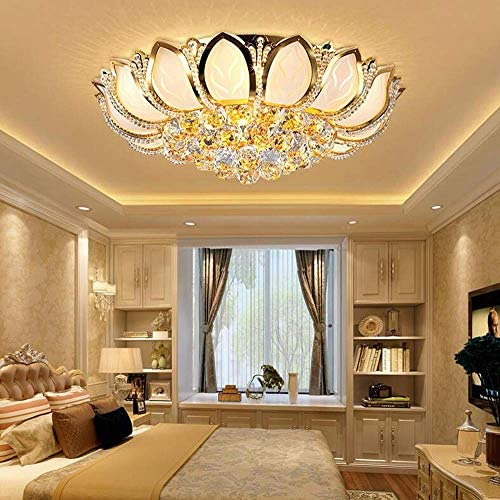 KALRI Luxury Crystal Indoor Chandeliers, Modern Gold Flush Mount Ceiling Light Pendant Lamp Fixture for Living Room, Dining Room and Bedroom, Diameter 23.6