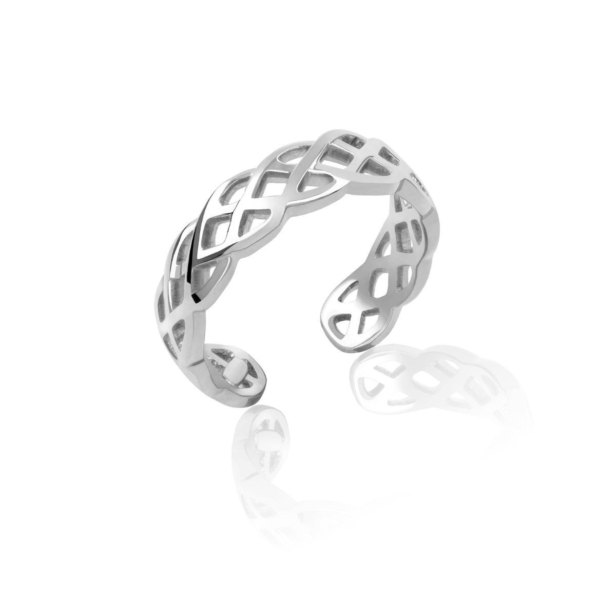 Honolulu Jewelry Company Sterling Silver Braided Weave Toe Ring