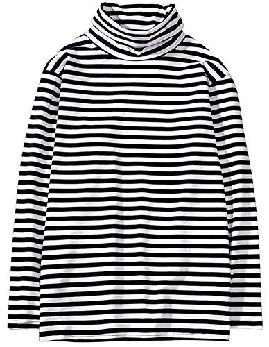 Hotmiss Men's Turtleneck Striped Hipster Hip Hop Pullover Long Sleeve T-Shirt Top (White Black, X-Large)