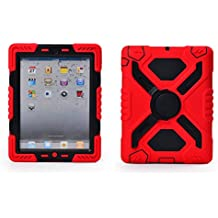 Ipad 2/3/4 Case (NOT FOR IPAD AIR) Plastic Kid Proof Extreme Duty Dual Protective Back Cover with Kickstand and Sticker for Ipad 4/3/2 - Rainproof Sandproof Dust-proof Shockproof (Red/black)