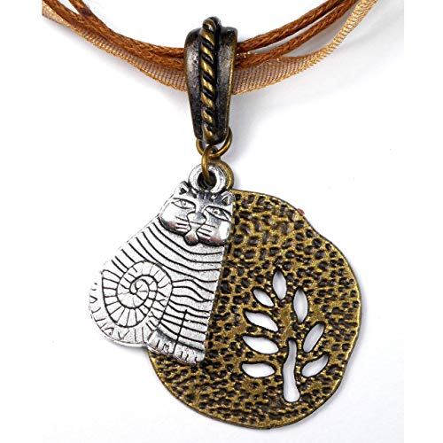 Silver Tone Sitting Cat and Brass Tone Cut Out Tree Design Charms Pendant Necklace, Gift for Women ()