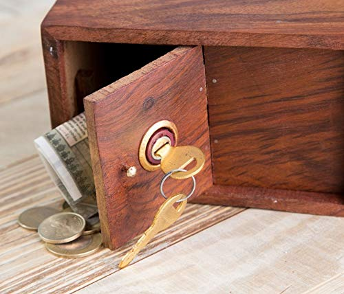 Whopperonline Indian Handmade 6 Wooden Coins Storage Box Hut Shape Money Bank with Butterfly Inlay on Two Sides and Lock to Store Your Money Safe Storage Money Box for Childrens Safe Storage Money Box for Children/'s