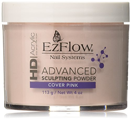 EZ Flow High Definition Cover Pink Powder False Nails, 4 - Powder Acrylic Ezflow