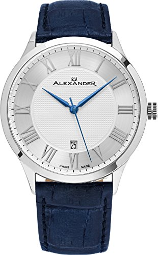 Alexander Statesman Triumph Blue Leather Watch with Date - Stainless Steel Analog Quartz Watch - Vintage Silver White Face Mens Swiss Watch A103-09 - Alexander Luxury Watches for Men