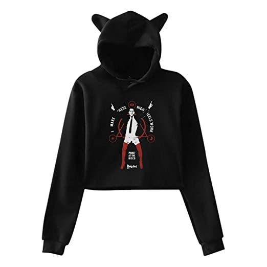 050baaf5 Panic at The Disco Women Cat Ear Short Crop Tops Sweatshirt Hoodies Sweater