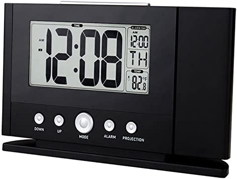 Amazon Com Shzons Digital Alarm Clock Unique Projection Alarm Clock With Time Week Temperature Display Home Audio Theater