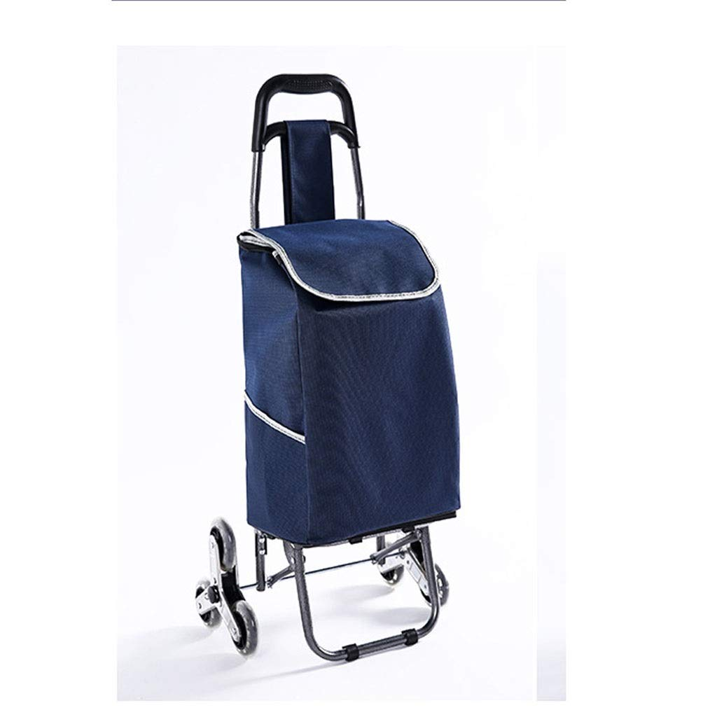 Lxrzls Shopping Cart Small Cart Luggage Trolley Folding Trailer Trolley Trolley Home Portable (Color : Blue)