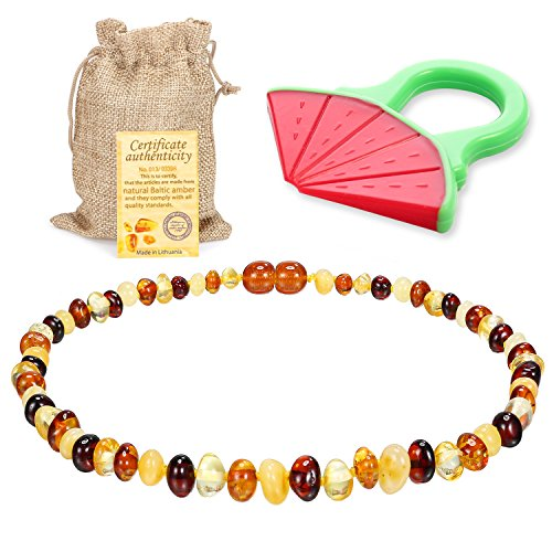 Raw Baltic Amber Teething Necklace for Babies - (Multicolor) Anti-Flammatory, Drooling & Free Teething Toy Pain Reduce Properties - Unpolished Amber with The Guaranteed...
