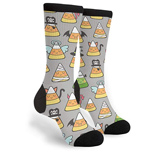 Packsjap Candy Corn Halloween Doodle Men & Women Casual Cool Cute Crazy Funny Athletic Sport Colorful Fancy Novelty Graphic Crew Tube Socks ()