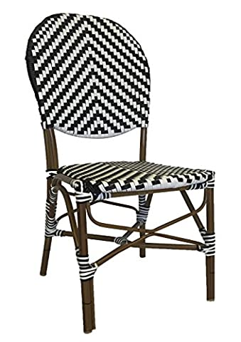 Table in a Bag CBCBBWW All-Weather Wicker French Café Bistro Chair with Aluminum Frame, Black and (White Bistro Dining Table)