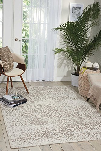 Nourison  Damask Vintage Distressed Area Rug, 5'X7', Ivory