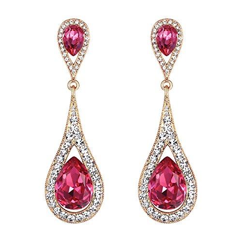 Pink Stone Crystal - EVER FAITH Women's Austrian Crystal Elegant Dual Teardrop Pierced Dangle Earrings Fuchsia Gold-Tone