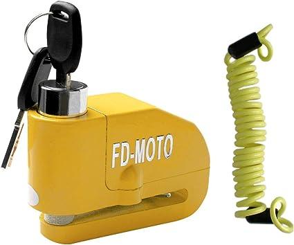 Fd Moto 110db Alarm Bremsscheibenschloss Diebstahlsicherung Motorradschloss 7mm Pin Sicherheitsschloss Gelb 1 5m Erinnerungskabel Für Motorrad Roller Fahrrad Auto