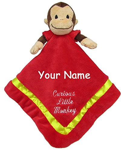 (Kids Preferred Personalized Curious George Curious Little Monkey Red and Yellow Snuggler Baby Blanket with Name Embroidery - 18 Inches )
