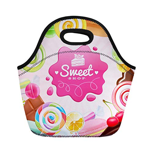 Semtomn Lunch Bags Pink Different Sweets Colorful Lollipops Cake Macarons Chocolate Bar Neoprene Lunch Bag Lunchbox Tote Bag Portable Picnic Bag Cooler ()