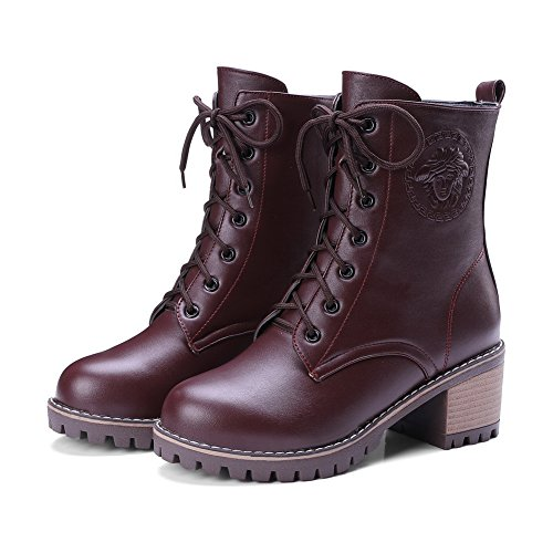 amp;N Lace A Up Lining Adjustable Womens Closed Light Chukka Boots Strap Claret Rubber Toe Boots Waterproof Warm AN Heel Kitten Weight DKU01816 Urethane 54pxwFqnF