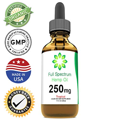 Hemp Oil for Pain Relief - May Help with Anxiety, Chronic Pain, Sleep, Mood, Skin and Hair - Herbal Drops - Rich in Omega 3, 6, 9 Fatty Acids - Natural Anti Inflammatory - 250mg (Tropical)