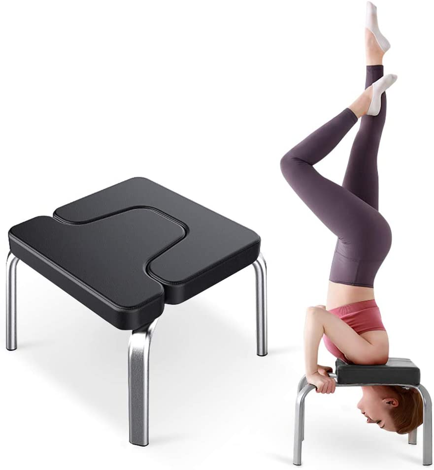 OUNUO Headstand Stool-Double Protective Yoga Inversion Chair-Steel Frame Headstand Bench-Perfect for Workout Fitness and Gym-Stress Relieve and Body Building-440 lbs Max Weight Capacity-Black