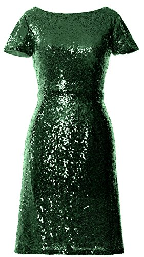 Macloth Dress Sequin Neck Cap Boat Sleeve Cocktail Dark Short Bridesmad Green Women rqUpawr