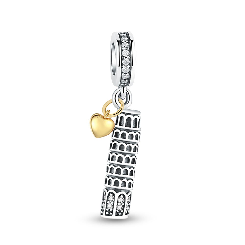 Glamulet Leaning Tower Of Pisa Charms 925 Sterling Silver Fits European Bracelet Travel Series Beads