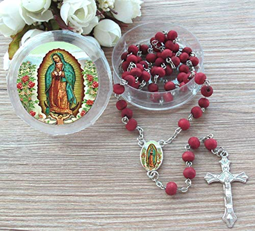 12 Pcs Our Lady of Guadalupe Red Scented Rosary Baptism Party Favors Virgen Guadalupe Gift Box