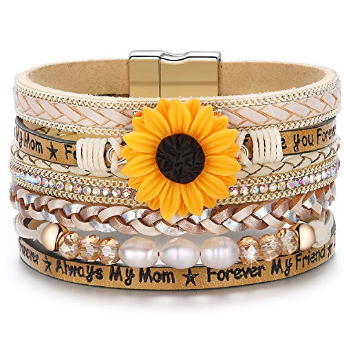 Sunflower Clasp - DESIMTION Sunflower Sunshine Leather Boho Wrap Stack Bracelets,Cuff Bohemian Wrap Multilayer Wide Wrist Magnetic Clasp Buckle Casual Bangle Bracelets for Teen Girls Women Boy Gift(B-4- Sunflower)