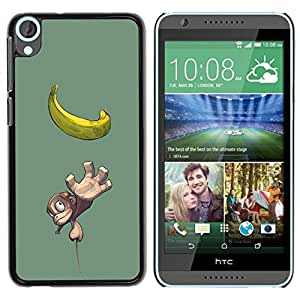 Be Good Phone Accessory // Dura Cáscara cubierta Protectora Caso Carcasa Funda de Protección para HTC Desire 820 // Cute Small Monkey & Banana